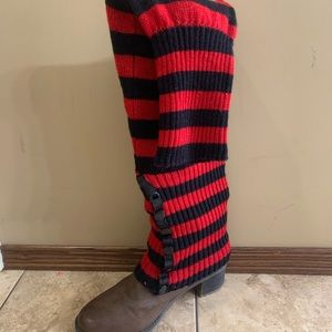 Black and red striped leg warmers
